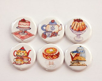Tea Magnets, Tea Time, Cake, Teapot, button magnets, Kitchen Magnets, Tea and Cake, stocking stuffer (3379)