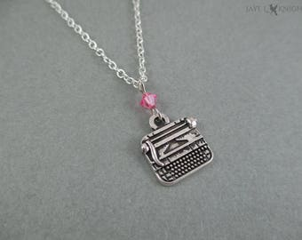 Writer Small Typewriter Charm Necklace - NaNoWriMo - OYAN - Camp NaNo - Young Writer - Writer Gift - Author Gift