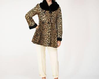 Vintage Leopard Print Coat - 60s, Flare, Faux Fur, Black Collar, Rockabilly, Pin Up,