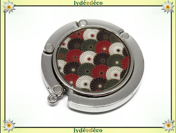 Bag hook retro fan Japan green red white black resin on metal silver