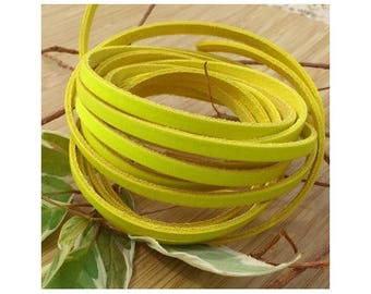 1 meter flat leather 5mm neon yellow high quality