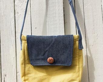 Yellow Corduroy Messenger Bag / purse / upcycled / handmade