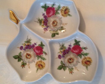 Vintage Old Nuremberg 3 Section Leaf Trinket Candy Dish Yellow, Pink, White, Purple Flowers