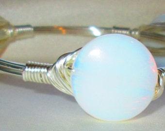 The Fog,  glass wire-wrapped bangle, bracelet,
