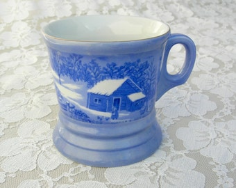 "Currier & Ives Collectible Winter Mug, ""A Home in the Wilderness,"" skaters, blue and white, gift idea"