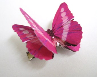 Custom Color Butterfly Hair Bow Clip - Big Girls Hair Bows For Girls - Hot Pink Hair Bow