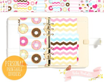 Donut and Coffee Printable Planner Divider Tabs / doughnut Dashboard fits Personal Size Organizer like KikkiK or Filofax Personal Use