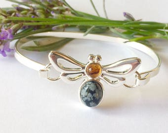 Bee bangle with amber and obsidian, honey bee, bee bracelet, Manchester bee, bee jewelry, bee jewellery