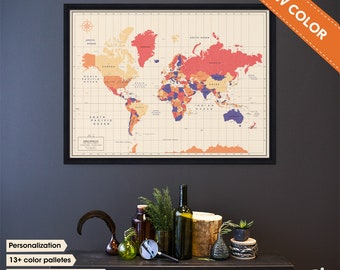 World map with pins - Framed World Map with Pins - Push Pin map of the World