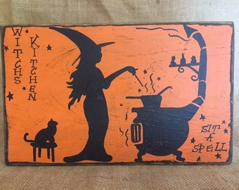 """Distressed Witch's Kitchen Sit A Spell 12""""w x 7.25""""h Handpainted Wood Sign"""