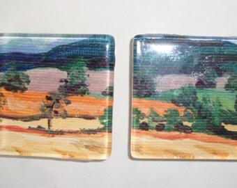 Landscape Art Magnets Glass Square Large 2 Inch Set of 2