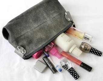 Upcycled Leather Makeup Bag / Repurposed Leather Cosmetics Bag /Upcycled Leather Toiletry Bag in Distressed Gray