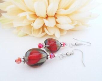 Gray Red Earrings Sterling Silver Earrings Dangle Clip On, Boho Earrings Bohemian Jewelry, Birthday Gift for Mother in Law, Art Deco Jewelry