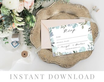 Rsvp Card Printable INSTANT DOWNLOAD, Wedding Rsvp Card, DIY Printable Invitation, Templett, Editable pdf, Rustic Invites, Papillion