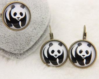 Panda jewelry set Earrings and ring  1616