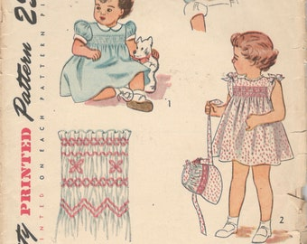Simplicity 2553 1940s Toddlers Smocked Dress and Bonnet Pattern Girls Vintage Sewing Pattern Size 3 Breast 22