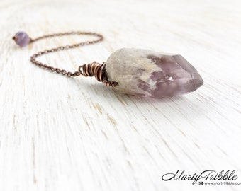Copper Crystal Pendulum, Wire Wrap Amethyst Point, Dowsing Pendulum, Metaphysical Healing, Scrying, Divination, Fortune Telling, Wiccan (75)
