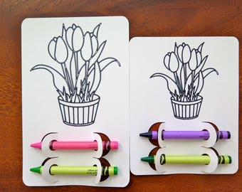 Tulip Kid's Coloring Activity Page | Easter | Favor | Place Setting | Spring | Flower