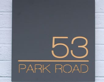 Modern Contemporary House Sign Floating Acrylic Two Colour Square 20x20cm Bespoke Plaque Number and Road Name Hidden Fixings