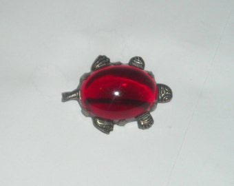 Vintage Ruby Red Jelly Belly turtle pin