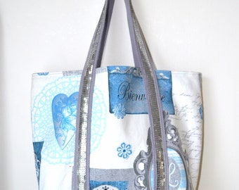 Tote bag style VB, patterned blue, silver glitter fabric, bag