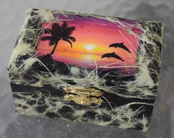 Mini Sunset Dolphin Decoupage Trinket Box