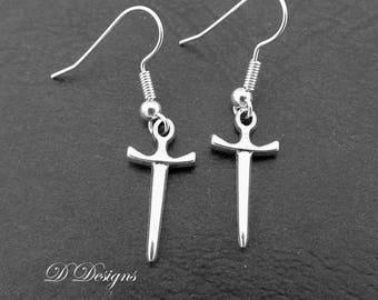 Sword Earrings Sterling Silver