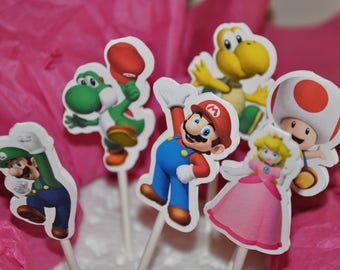 Mario Cupcake Toppers set of 12