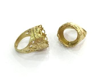 Raw Brass Adjustable Ring (16mm Blank)  , Bezel Settings,Cabochon Base,Mountings G3263
