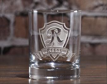 Engraved Whiskey Scotch Rocks Glasses, Personalized - Set of 6 (M30)