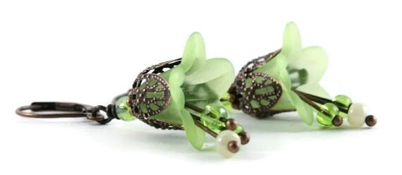 Green lily flower and antique copper leverback earrings (163)