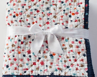 Floral Muslin Baby Quilt, Baby Quilts Handmade, Floral Nursery Blanket, Navy Blue Polka Dots, Raspberry Florals, Modern Quilted Baby Blanket