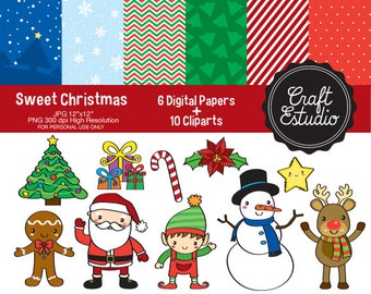 Christmas, Digital Kit, Santa Claus, High Resolution, Gingerbread Man, Snowman, Clipart, Candy Cane, Snow, Instant Download, Navidad, Elves