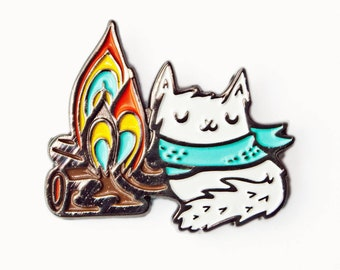 Camping ENAMEL PIN, wanderlust gift, campfire lapel pin, mountain jewelry, camp backpack pins, adventure awaits, backpacking gift, camp fire