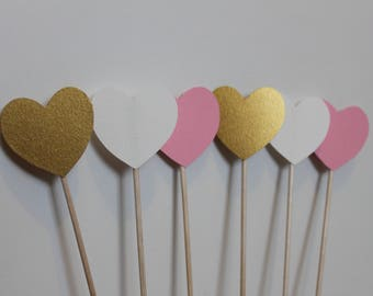 went 50 hearts wedding decoration white gold and rose / hearts sticks