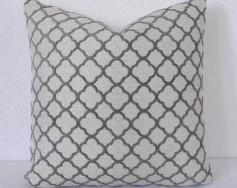 Velvet gray quatrefoil geometric decorative pillow cover