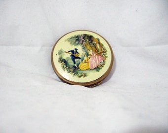 1960s enameled brass powder compact