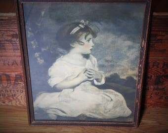 """Antique  1940s Framed Print of J. Reynolds """"Age of Innocence"""" Painted in 1885 or 1888"""