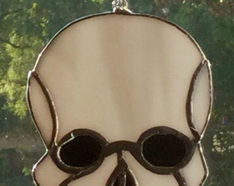 Stained Glass Skull Suncatcher For Halloween By Sparkle Stained Glass