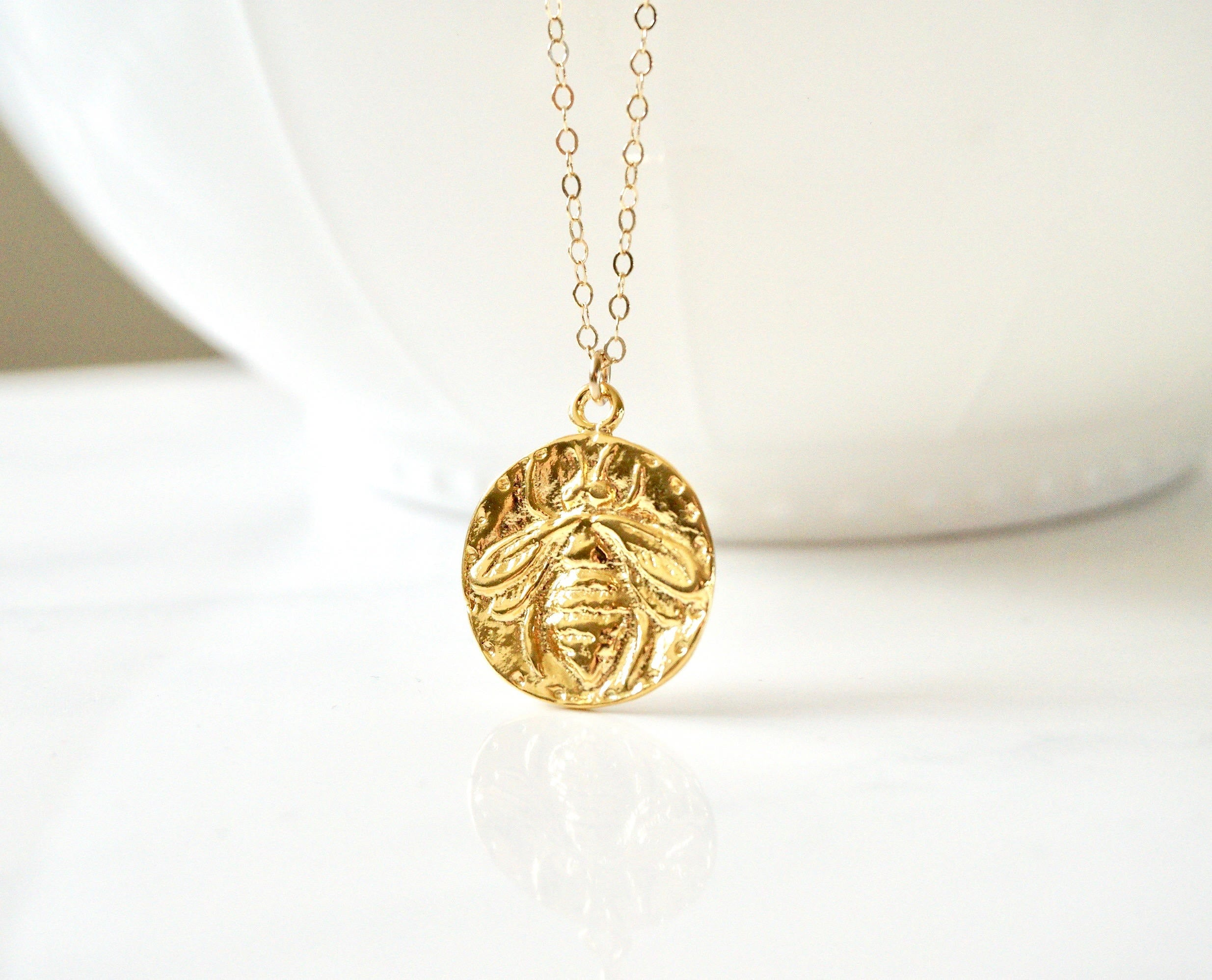 necklace web curated magazine c small wilde products bee pendant gold state of wylde by jane sarah honey mind