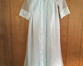 Vintage 60s pale blue sheer lace two piece slip and bed jacket by Shadowline size S