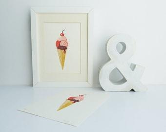 Crème glacée impression linogravure en gaufre, art imprimé pour la cuisine, édition limitée, glace boules dans l'écureuil, linogravure A5
