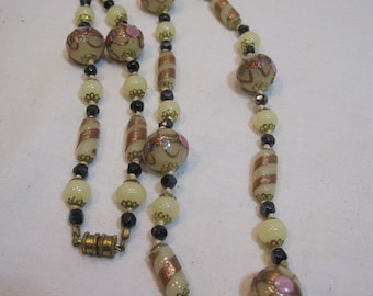 Vintage Pale Yellow Wedding Cake Bead Necklace