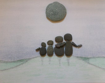 Pebble art picture, family, gift idea