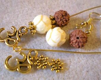 BO Zen Yoga Kit * OHM VANAMALA Garland of lotus and Rudraksha * gold plated hooks