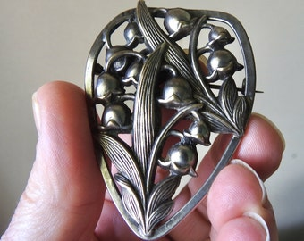 Vintage Art Nouveau Lily of the Valley Brooch