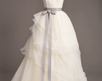 "Silver Gray Wedding Sash - 1.5"" - Romantic Luxe Grosgrain Ribbon Sash - Wedding Belt, Bridal Sash, Bridal Belt - Wedding Dress Sash"