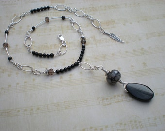 Thorn Talisman beaded necklace, black onyx, black fire agate, smoky quartz, one of a kind