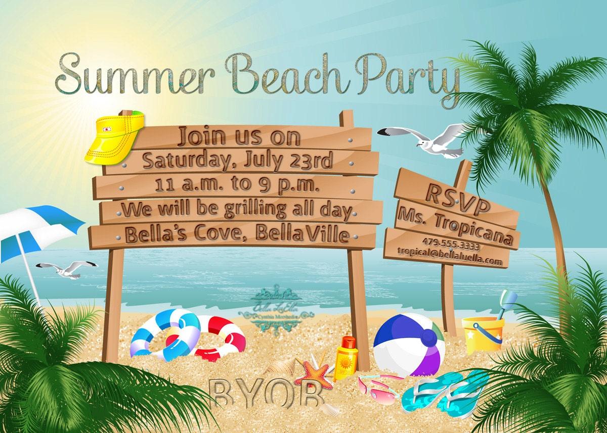 Summer Party Beach Party Invitation Luau Invitations