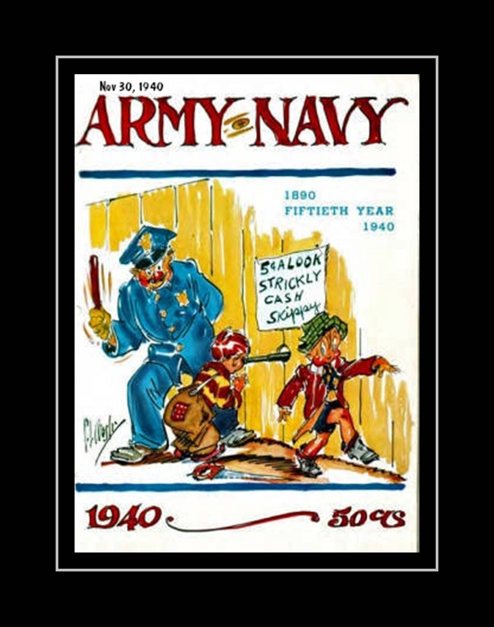 Vintage 1940s Army Navy Football Poster Military Wall Decor